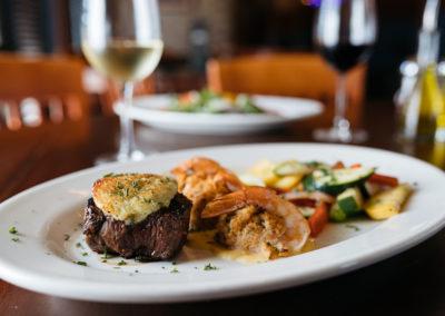 Johnny's Italian Steakhouse Crusted Steak with Shrimp